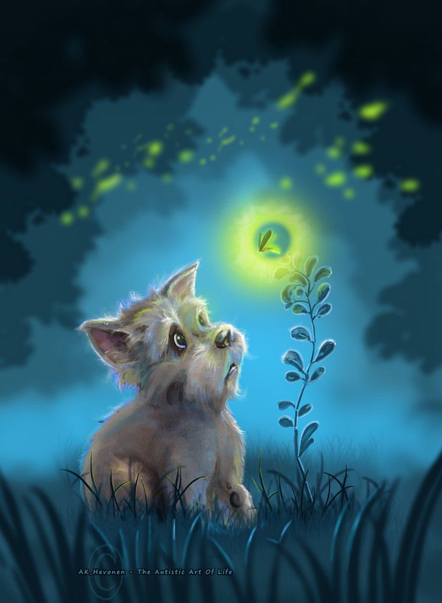 #dogs #dogsarelove #ArtistOnTwitter #artistsontwitter #digitalpainting #freestyle #night #Firefly #autismawareness  Sorry for current silence, so much. TY to all sticking with me, big TY.  #AnxietyMakesMe wann hug a dog #IfIWereADog