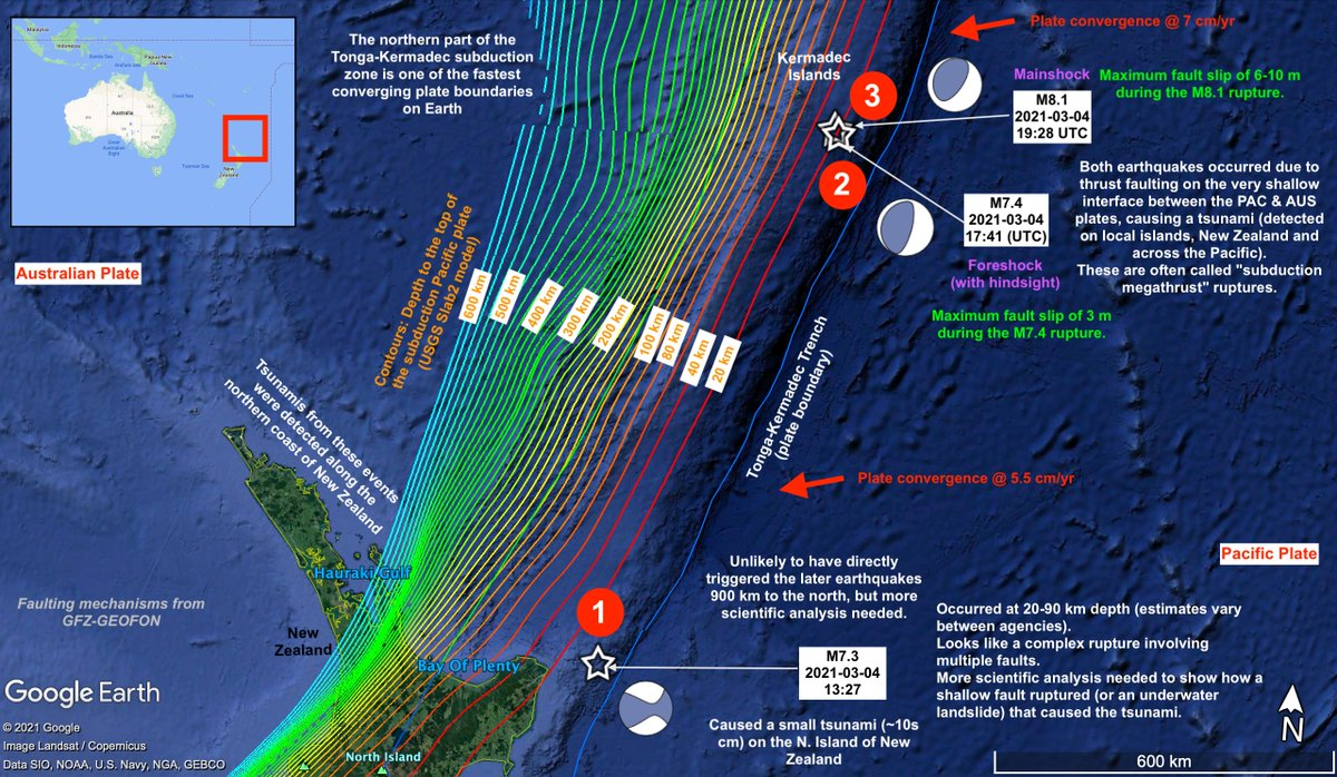 If, like me, youre feeling a bit overwhelmed by the wealth of information following yesterdays M7.3, M7.4 & M8.1 earthquakes in the South Pacific, then hopefully this summary map helps, which Ive quickly put together.