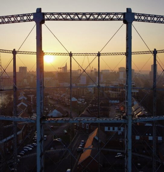 Sunset Through The Tower - by Laurence Farmer Laurence took this stunning shot with his drone (before the peregrine falcons came)  See the whole image here:   #gastowergallery #photography #architecture #readinggastower #sunset