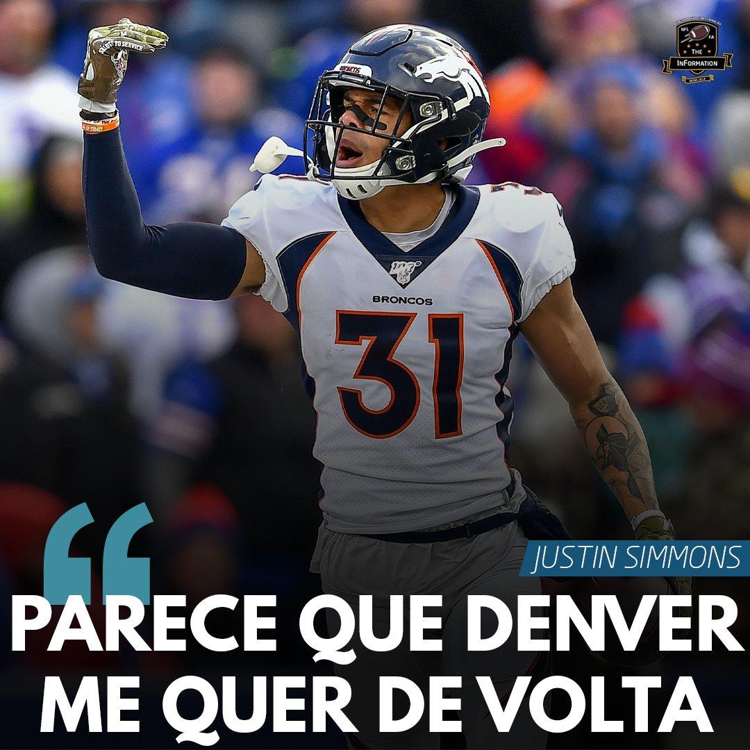 VAI FICAR OU NÃO?!  O S dos #Broncos, Justin Simmons, é Free Agent em 2021, mas parece que negociações com Denver estão rolando. O jogador disse que tem interesse em ficar, que a franquia tem a mesma intenção e que um grande contrato pode ocorrer.  #NFL #NFLBrasil #NFLEleven