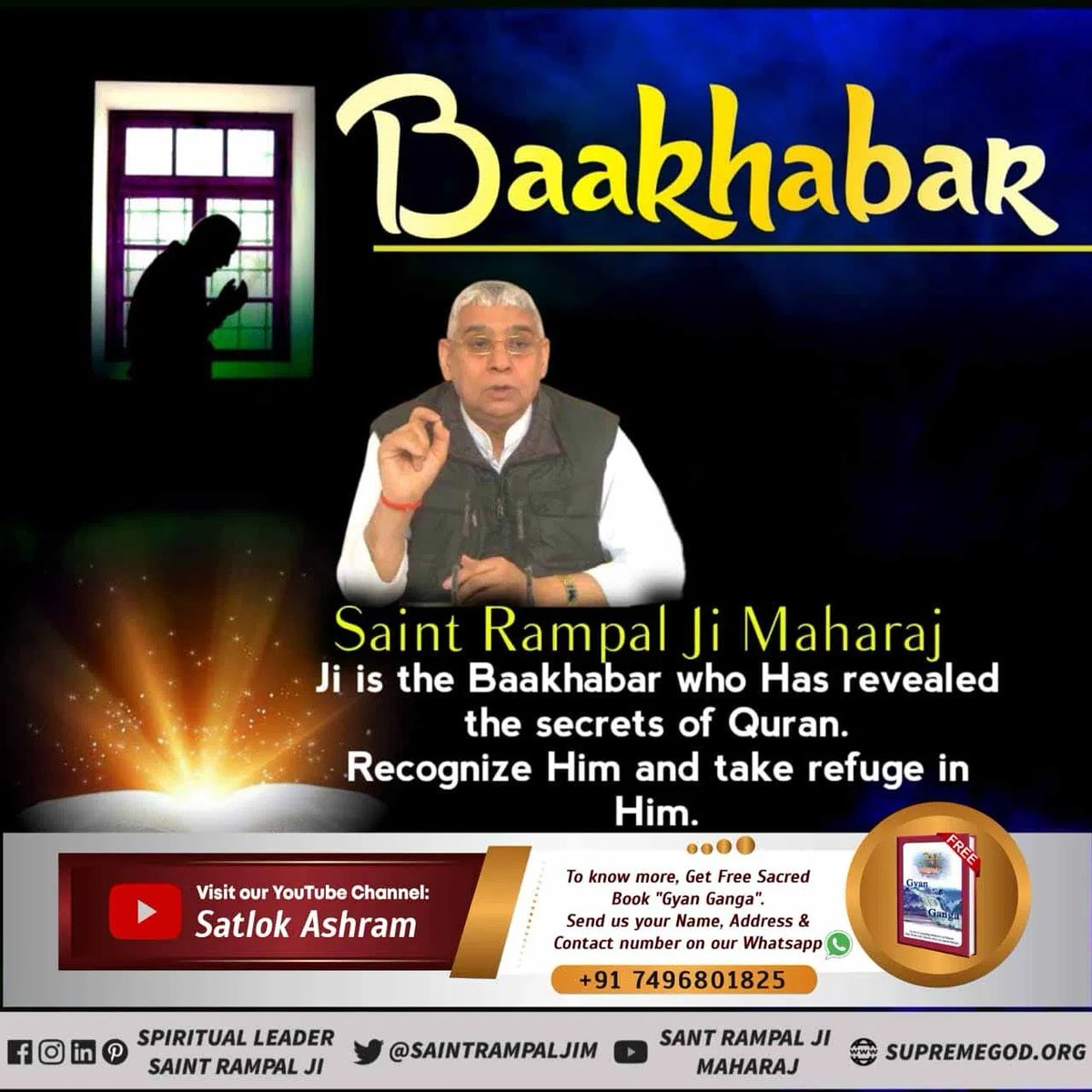 #FridayMotivation 💥Allahu Akbar is used for allah Kabir who met Hazrat Muhammad and told him about the right way of worship but because of the fear of Jibril Muhammad could not believe it.  🔺Visit ➡️ Sant Rampal Ji Maharaj YouTube channel  Baakhabar Sant Rampal Ji