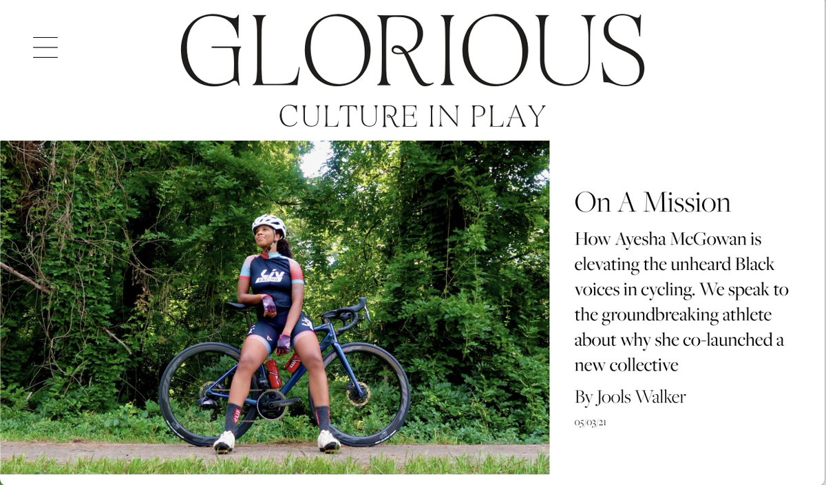 🎉I am SO HAPPY to share the first piece I've written for @glorious_sport: 'On A Mission' - a feature on the fantastic  @ayesuppose! 🦊🚴🏾♀️🖤 Join the club to read it: