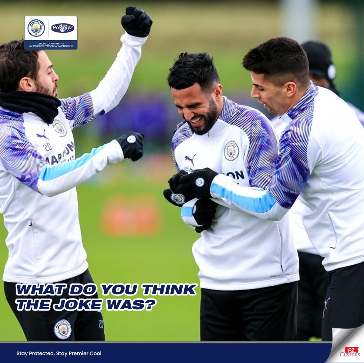 There's always a funny man in the group.  What do you think the joke was?   #PremierCool #MCFC #CoolSquad #StayCool #LoveConfidently #StayConfident #IcyFresh #Protection #StayProtected
