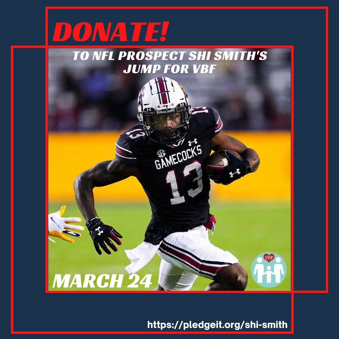 #NFL Prospect Shi Smith will jump for #VBF during NFL Pro Day on March 24! Cheer him on and donate ->  #vascularbirthmarksfoundation