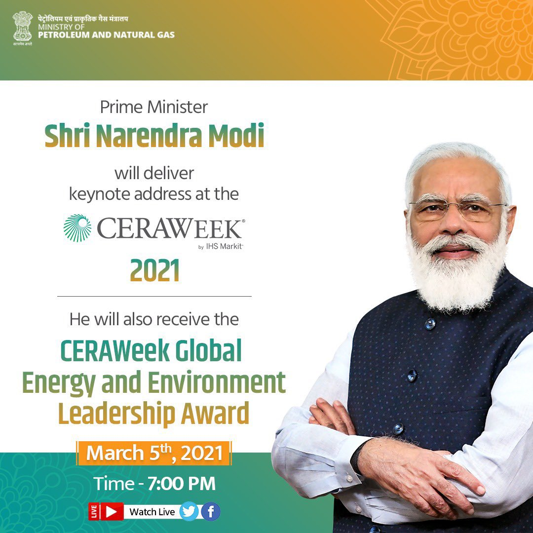 Watch Hon'ble @PMOIndia receiving Global Energy & Environment Leadership Award in recognition to his efforts towards ensuring energy justice and in mitigating climate change. Also listen to the keynote address at 7:00PM IST today.