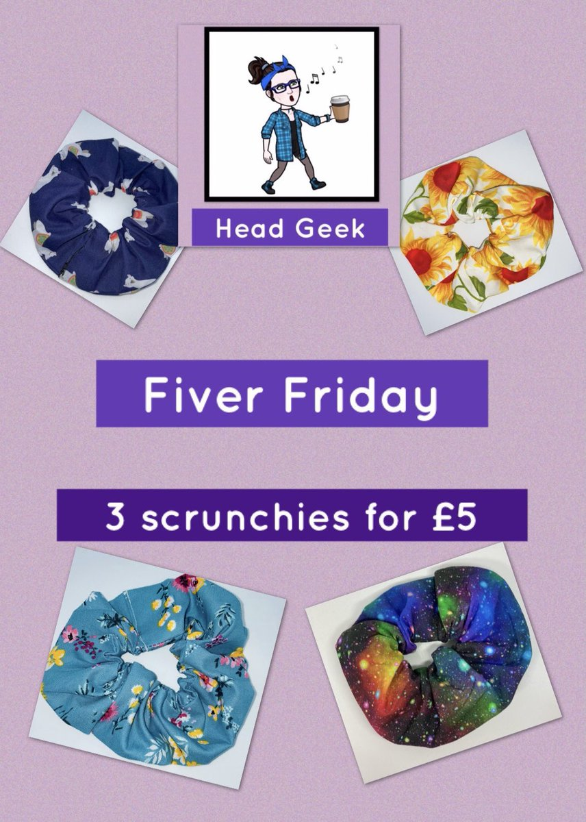 #fiverfriday available on my Facebook or Etsy. Use code FIVERFRIDAY for Etsy with 3 scrunchies in your basket.  NOT valid on mini scrunchies. #FridayFeeling #FridayVibes #handmade #SmallBizFridayUK #SmallBusiness