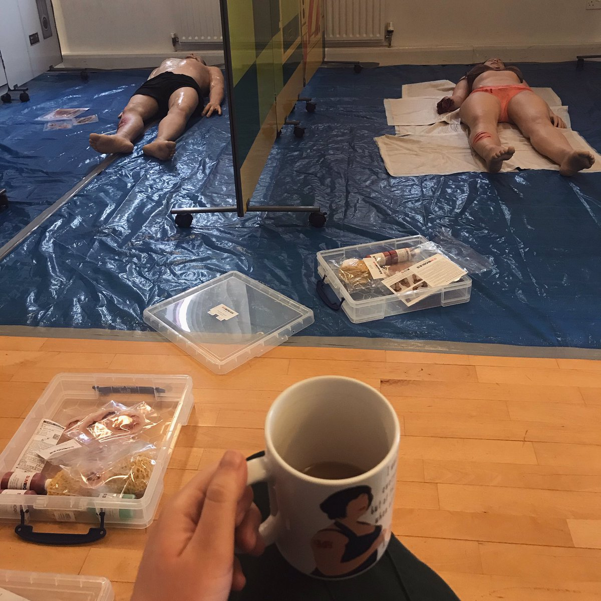 Prepping for another #simulation day. Cuppa in hand whilst I wait for the liquid latex to dry. ✌🏻🚑 #simulationtraining #trauma #simbodies https://t.co/22ojgZhtqe