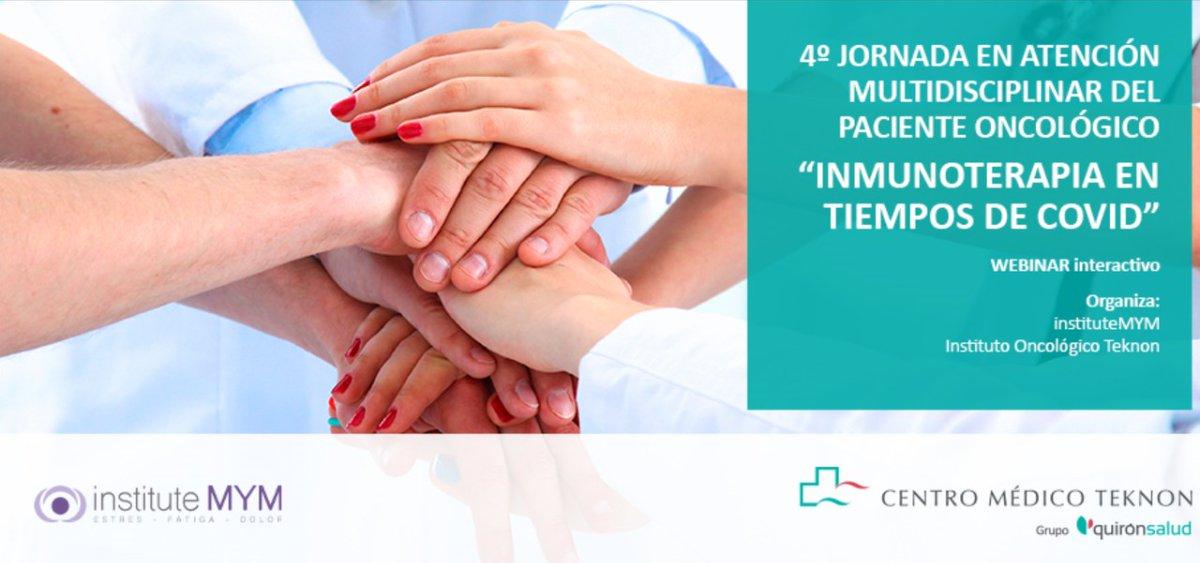 """💻 Webinar❗Te invitamos a la 4º Jornada en Atención Multidisciplinar del Paciente Oncológico """"Inmunoterapia en tiempos de COVID"""" organizado por InstituteMYM y Centro Médico Teknon.   📆 16 de abril de 2021 ⏰17:30 h 🔗https://t.co/grNsLelX2p #setratadeti https://t.co/ylUeXKm7Kp"""