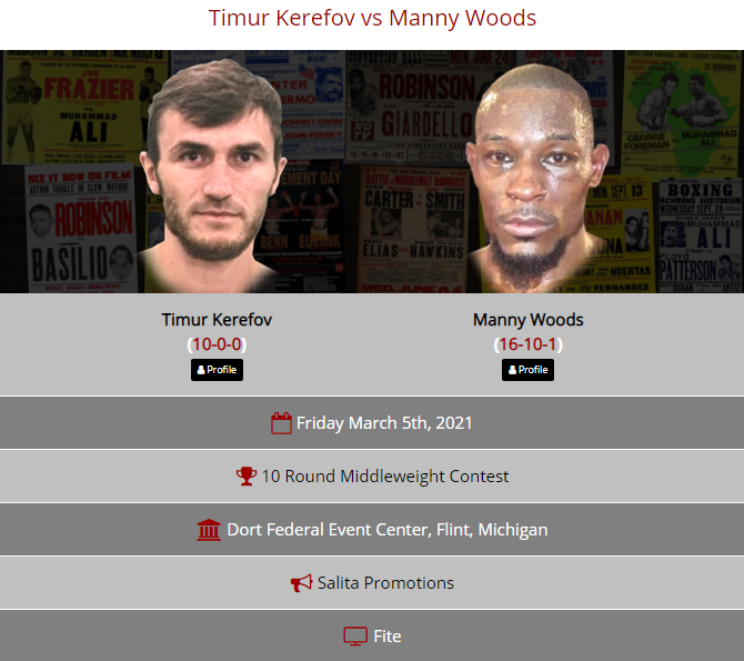 🥊 Timur Kerefov vs Manny Woods 📅 Friday, March 5th 🏆 10 Round Middleweight Contest 🏟️ Dort Federal Event Center, Flint, Michigan 📢 @SalitaProm 📺 @FiteTV  🔗  #KerefovWoods #BoxingOnly5 #boxing #boxeo