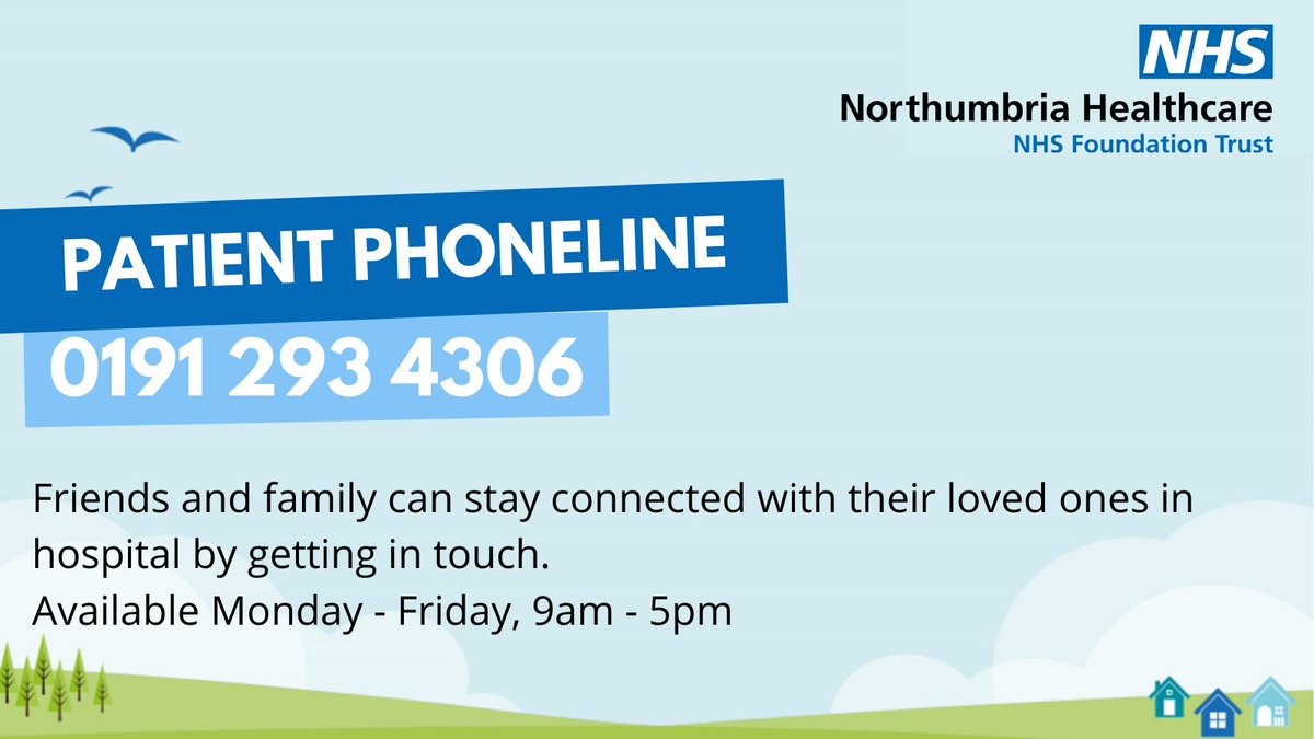 Our patient phone line is open📞 Friends and family can stay in touch with their loved ones in hospital by getting in touch on 0191 293 4306📞 or emailing patient.experience@nhct.nhs.uk 💻 Available Monday-Friday, 9am-5pm Keeping people connected the Northumbria way💙