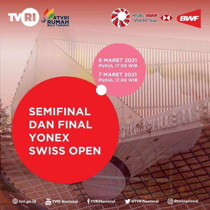 Siaran Langsung Swiss Open 2021 di TVRI