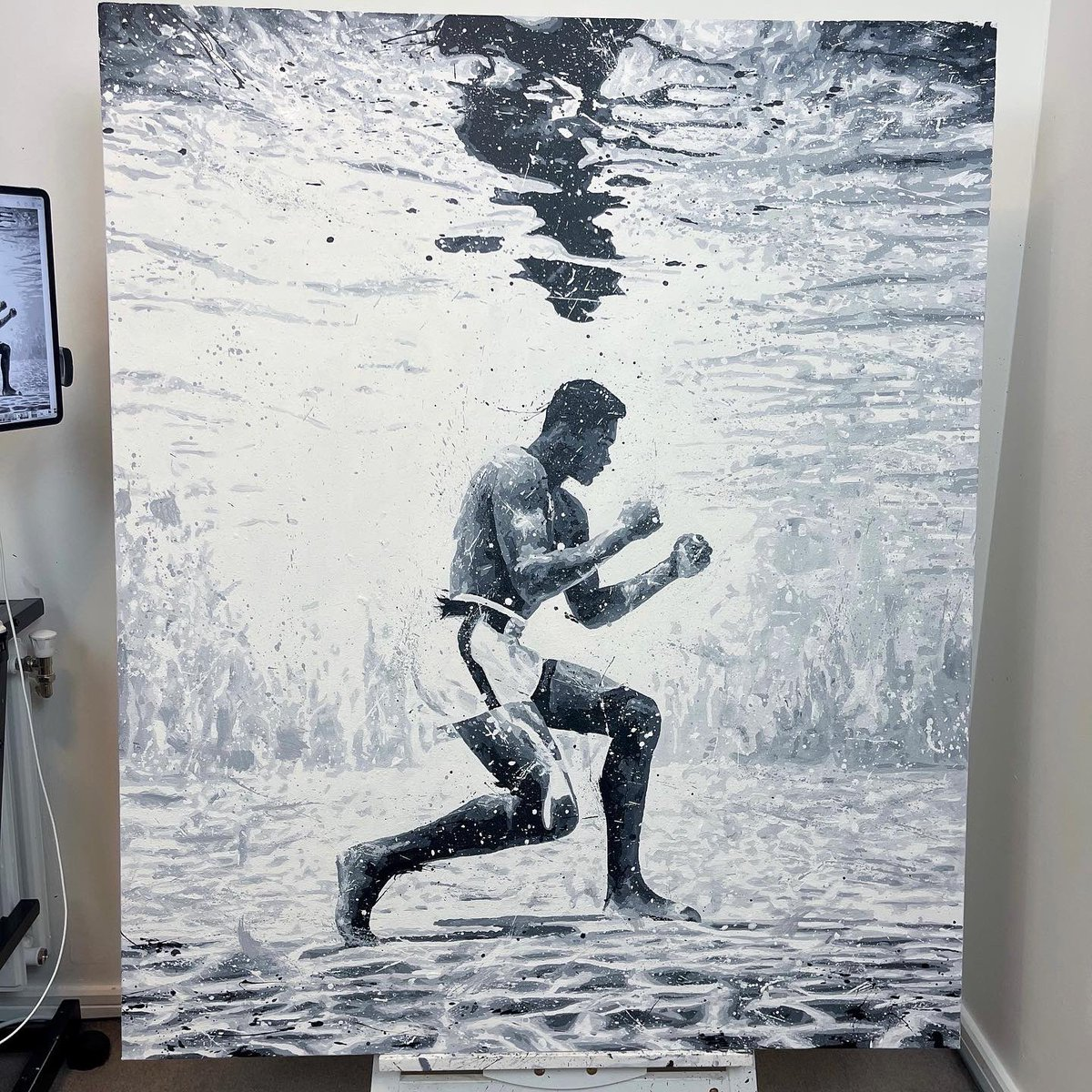 """""""I'm young; I'm handsome; I'm fast. I can't possibly be beat."""" - Muhammad Ali.  This painting is all finished and today it gets delivered to the client over in East London🚗💨  #thegoatgoat #muhammadali #ali #alifans #boxing #thegreatest"""