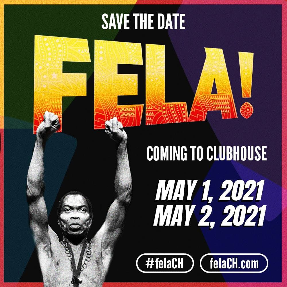 "Everybody say ""Yeah, Yeah!"" On May 1st & 2nd, FELA! is coming to #Clubhouse 👋 . Catch @TheNewNigerian_'s audio-only adaptation of the smash hit Broadway show based on the life and music of Afrobeat creator #Fela Anikulapo Kuti.  #FelaCH #voteforfela"