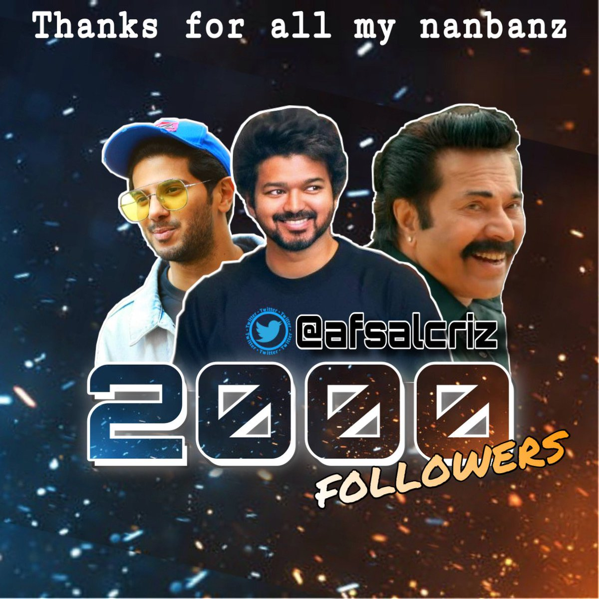 I am great happy today 😍i am reached 2K followers with in 139days 🤗Thankyou so much for the support friends. Especially @actorvijay Fans @dulQuer Fans @mammukka Fans and @TFK_Offl members... Keep support 😍 #Master #Thalapathy65 #Thalapathy66 #Thepriest  #Kurup #DulquerSalman