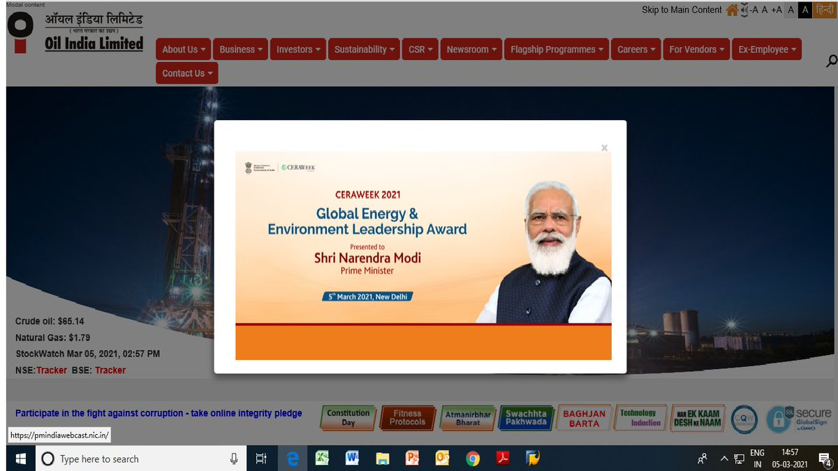 Honble PM Shri @narendramodi will b receiving the @CERAWeek #GlobalEnergy & #Environment Leadership Award and deliver keynote address at the Cambridge Enrgy Research Associates Week (CERAWeek) 2021 today via video conferencing at 1855 hours. Watch Live- pmindiawebcast.nic.in