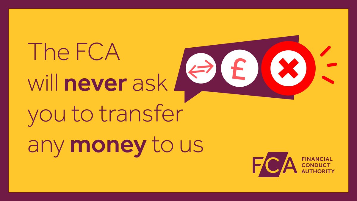 Be careful of scammers pretending to be from the FCA and asking for money, your bank account PIN number or password. Visit https://t.co/oBesaYrtgr to find out more https://t.co/Hyc59N5jmU