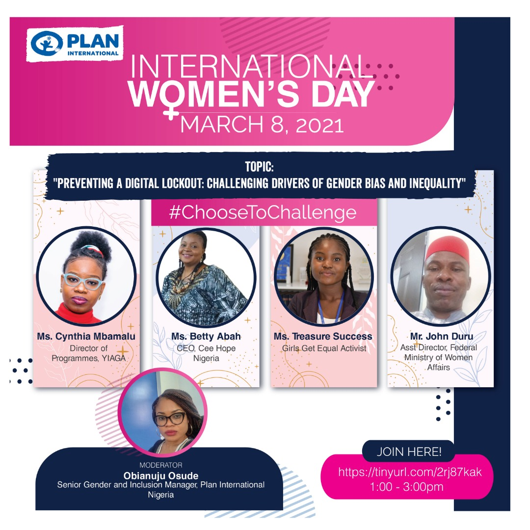 This #InternationalWomensDay , we #ChooseToChallenge the Digital Lockout against #Girls.  We will discuss the drivers of Gender Bias and Inequality on Monday 8th 2021.  Join us at 1pm WAT.  Register here: