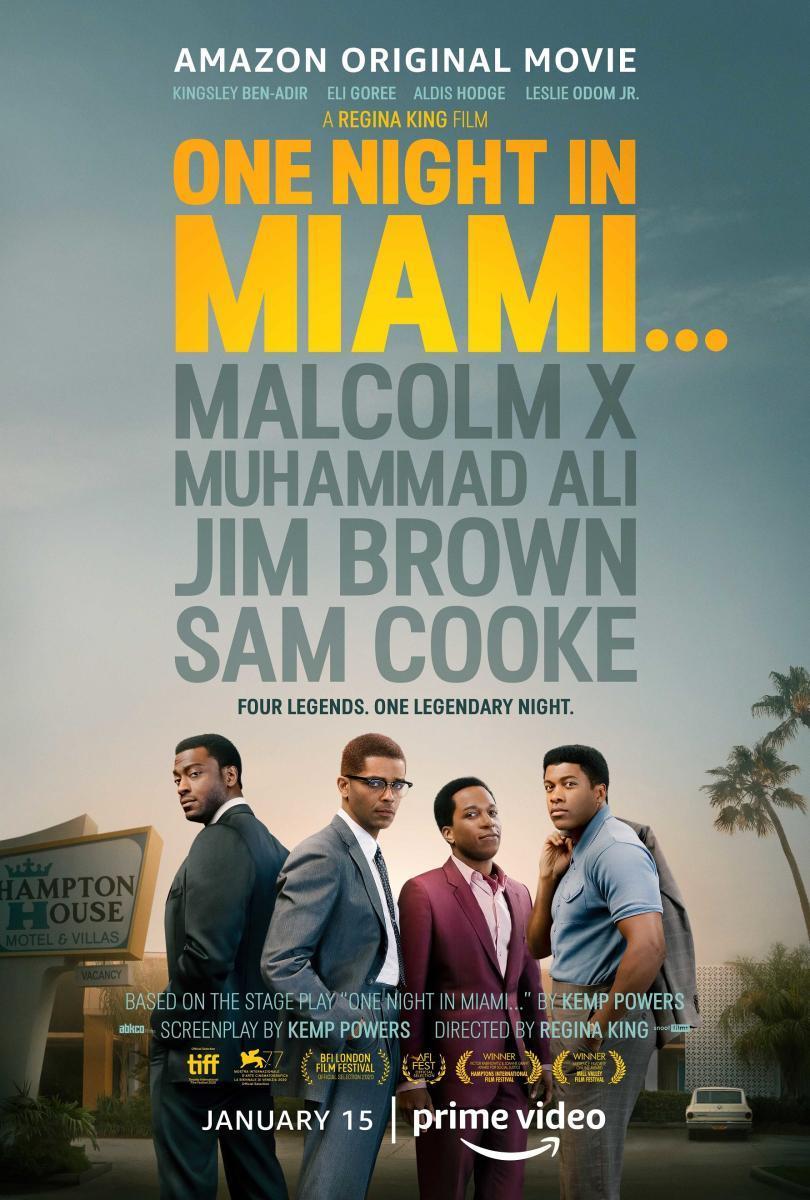 """61. """"One Night in Miami..."""" 🇺🇸 Dir. Regina King Dir. Fotografía Tami Reiker 2021 #OneNightinMiami #PrimeVideo Está basada en la obra de teatro de Kemp Powers """"One Night in Miami...""""  Me ha gustado. Tiene un reparto chachi a pesar de que algunos no los conozco. Fotografía linda🍀"""