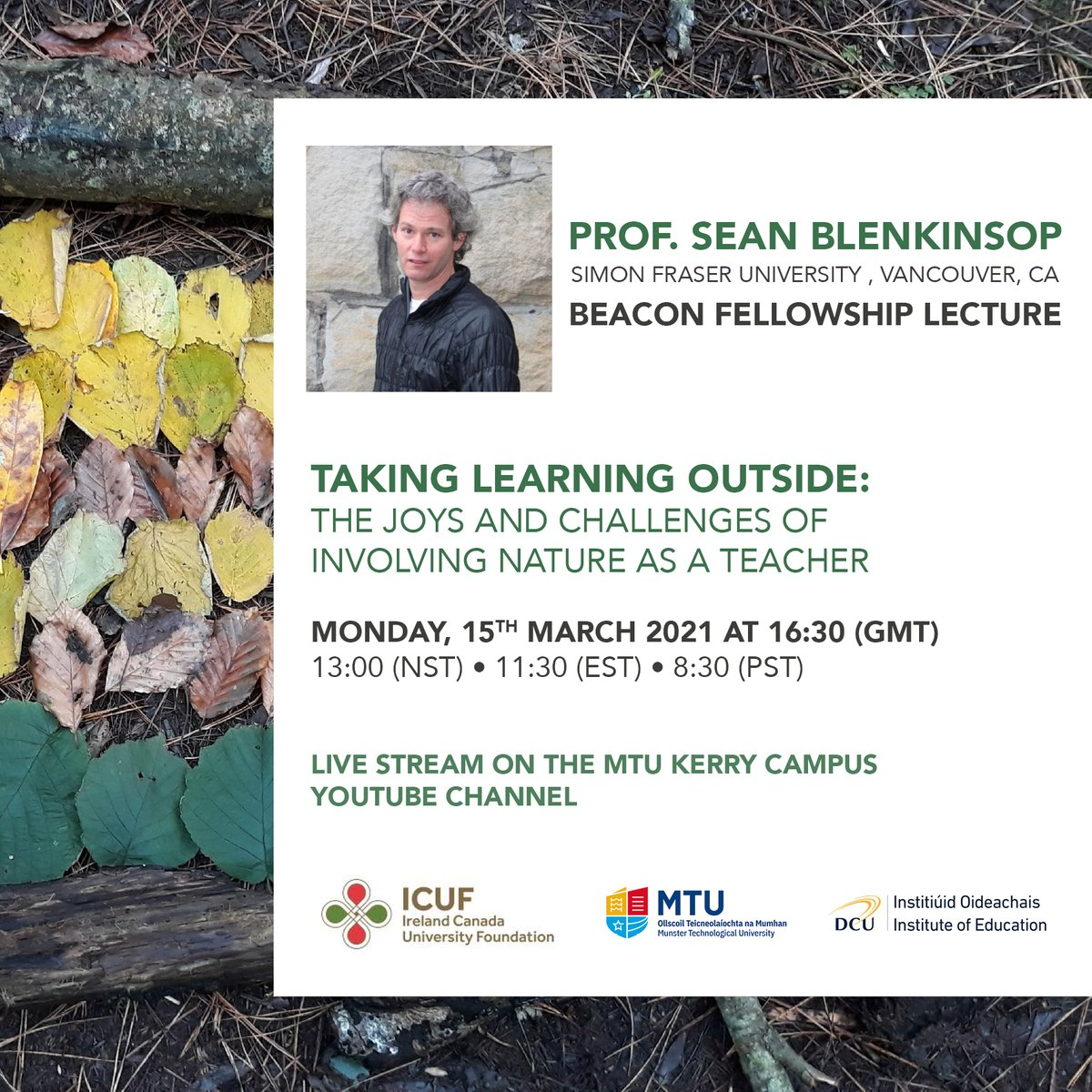 Sean Blenkinsop will be delivering a D'Arcy McGee Beacon Fellowship lecture on 15th March at 4:30pm(GMT).  Sean was nominated for this Fellowship from @ICUF_Awards by @MTU_ie and @DCU_IoE. The lecture will  be streamed live on https://t.co/HFgviki8U2. https://t.co/kjrGiJmiQu