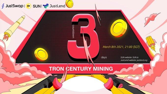 📢 تبقى 3 أيام فقط على بدء حملة عصر الترون #TRON للتعدين #TRONCenturyMining  🗓 8 مارس 2021 الساعة 21:00 (SGT)  ⛏ عدّن واكسب 5 رموز ، قم بتطوير TRON DeFi! #TRX #SUN🌞 #WIN💰 #JST🚀 #BTT✨  📋 التفاصيل:   #TRX #TronNetwork @Tronfoundation @defi_sunio