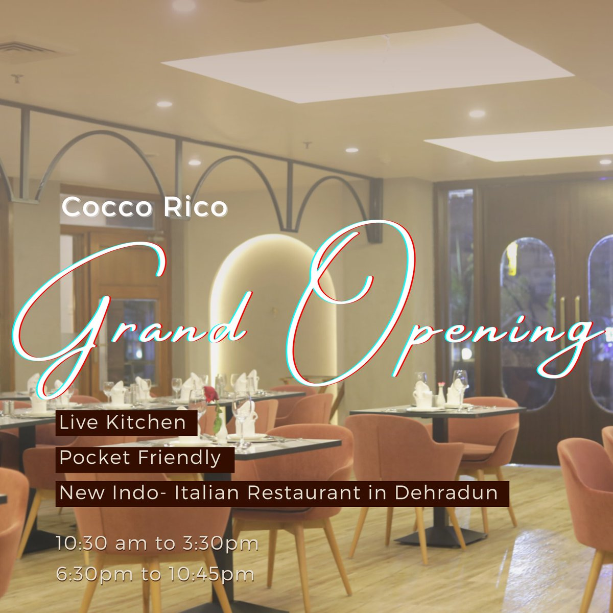 JSR Group of Hotel welcome you to the Grand Opening of our new Restaurant Cocco Rico at Hotel JSR Continental near Rispana Bridge. The highlight of our new restaurant is the live kitchen and the Indian and Italian Cuisine. #jsrgroup #coccorico #restaurantopening #trending #food