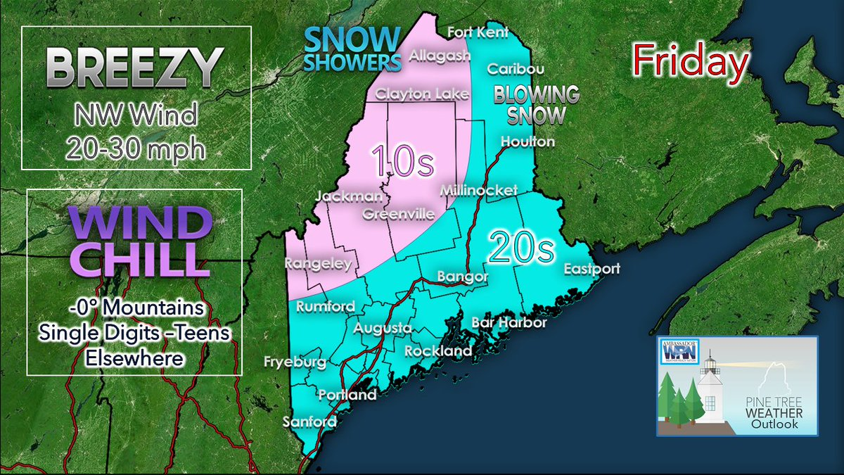 FRIDAY - Another breezy, chilly day for #Maine. Blowing snow with a chance of snow showers north ►  Wind slowly diminishes by Sunday. #HeyBangor #PortlandME #MidCoast #DownEast #theloaf #MEwx