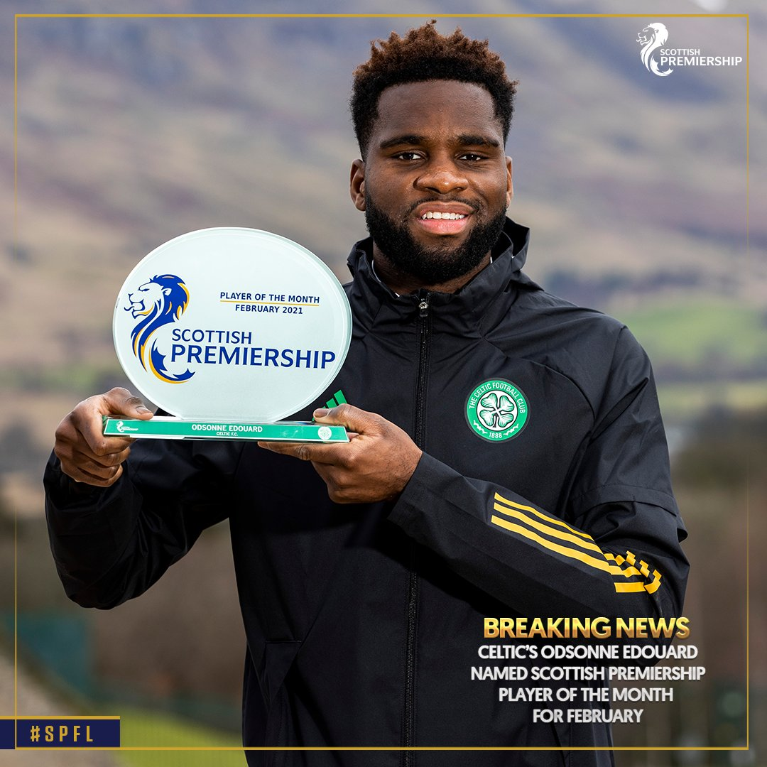 🏆 Congratulations to @CelticFCs @Oedouard22, who has been awarded the SPFL Premiership Player of the Month award for February! 👏