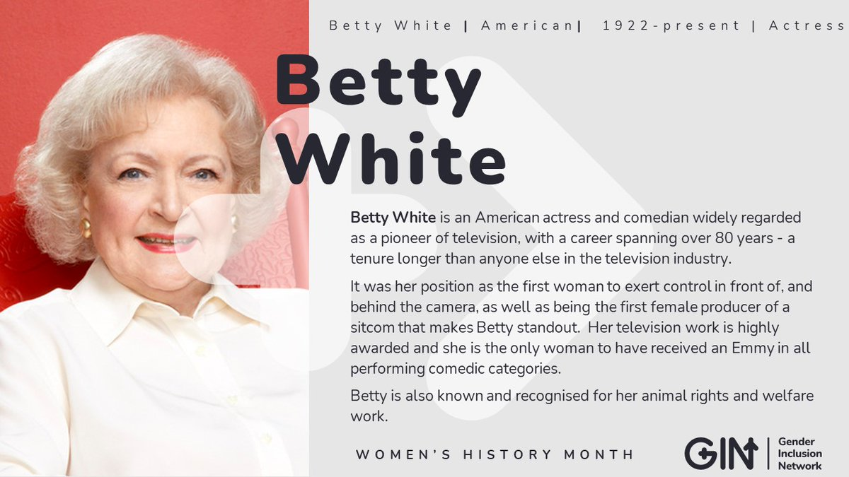 Our #WomensHistoryMonth day five feature is the one-and-only #BettyWhite. She's been dominating Hollywood in front of, and behind the camera, for eight whole decades. Thank you Betty for being brave, bold, and breathtaking.   #womeninfilm #femaleproducer