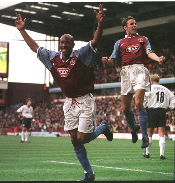 Scoring against @SpursOfficial on my debut for @AVFCOfficial back in 1998/1999 (I think)with the skipper @GarethSouthgate close by! Love this pic!
