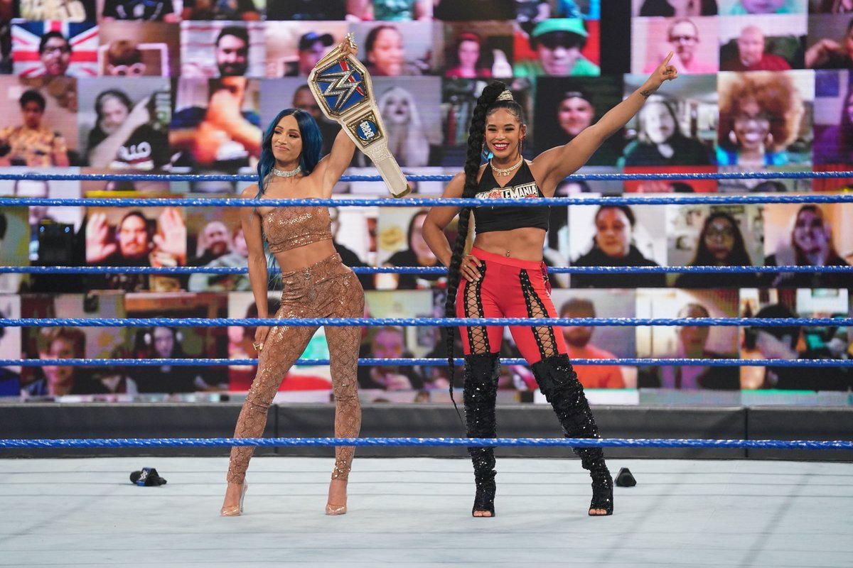 It's official, @BiancaBelairWWE will face @SashaBanksWWE at #Wrestlemania!   Find out how it went down on WWE: SmackDown Highlights, tomorrow at 10:00am on Paramount.  @WWEUK #WWE #SmackDown