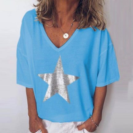 Shop V-neck Fashion Five-pointed Star Short Sleeve Casual Blouse @powerdaysale    #Blouses #Shirts #Tops #Fashionlooks #casualwear #casualstyle #DailyCasual #likeforlike #twitterfashion