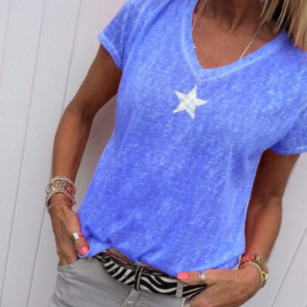 Shop V-neck Fashion Five-pointed Star Short Sleeve Blouse @powerdaysale    #Blouses #Shirts #Tops #Fashionlooks #casualwear #casualstyle #DailyCasual #likeforlike #twitterfashion