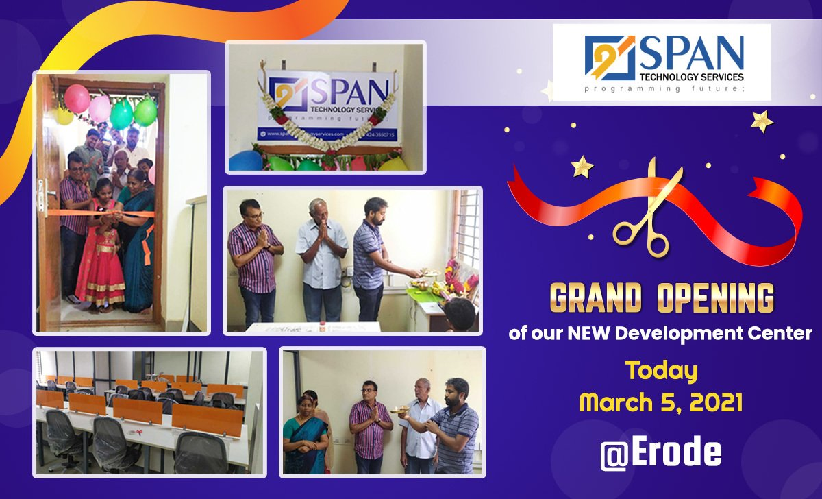 With all your support and wishes, we have successfully inaugurated our new development center at #Erode. Here are a few pictures from the event. . #Newbranch #SPANTechnologyServices #spantechnologies #Inauguration2021 #newstart