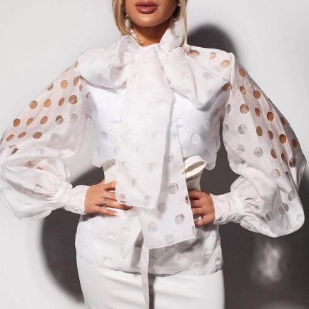 Shop Polka Dot Print Sexy Hollow Out Bow Tie Lantern Long Sleeve Sweet Blouse    #Blouses #Shirts #Tops #Sexywear #PolkaDot #Sweetstyle #casualwear #casualstyle #likeforlike #twitterfashion