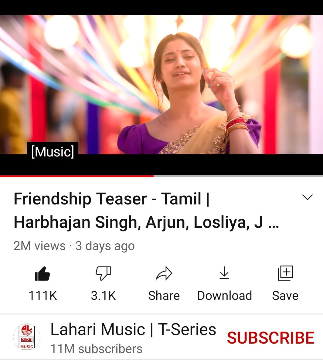 3Day 2 million views 111k likes #friendshipmovieteaser Never judge 💚 you never know what kind of battle they are fighting #Losliya #Friendshipmovie