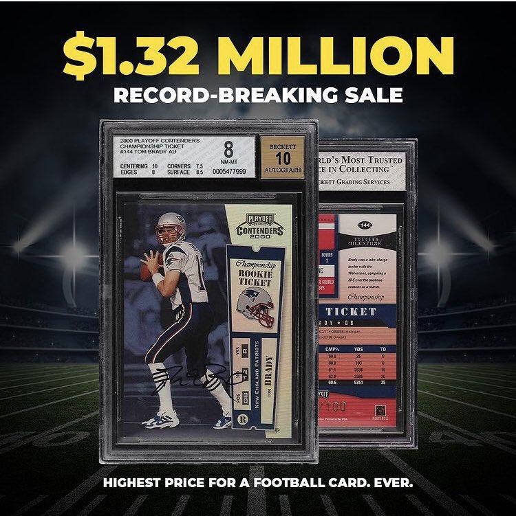 Een nieuw record in de plaatjes markt! Rookie card #TB12  voor 1,32 miljoen dollar verkocht. Duurste voetbalplaatje (rookie #CR7) bracht bijna 7000 euro op #panini