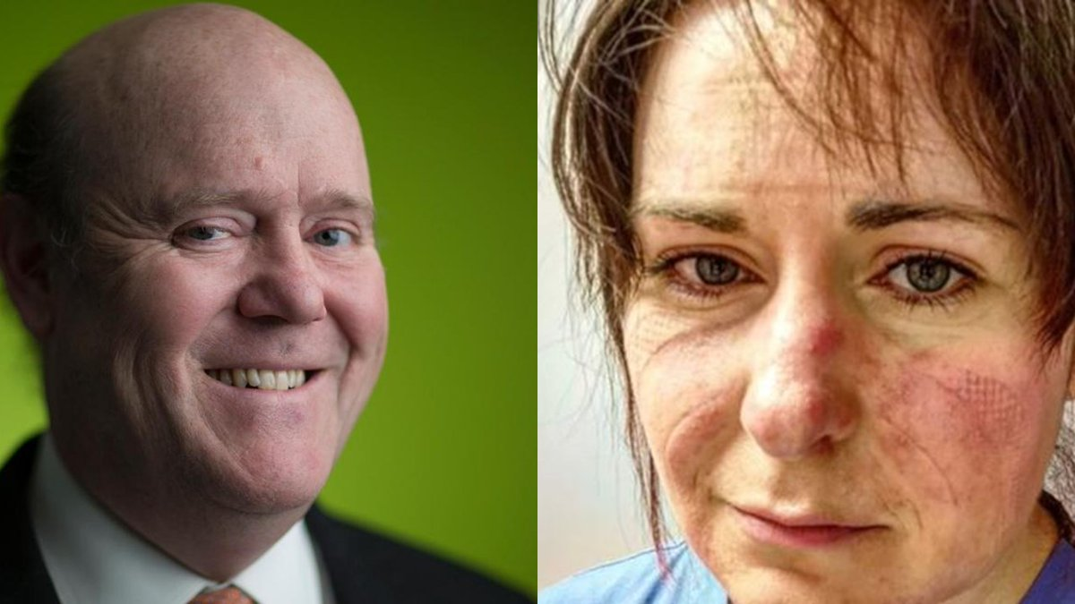 In the left is Rupert Soames CEO of Serco which was gifted the Test & Trace contract by his Tory pals and who earned £5.2 MILLION in 2018. On the right is an NHS nurse who has been told her contribution over the last year is worth just 1%... #ToryScum