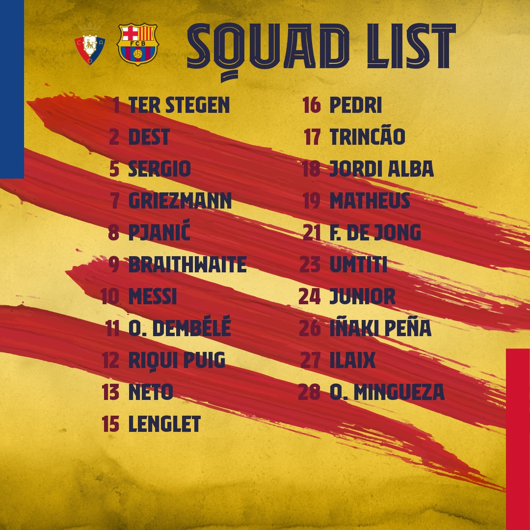 The squad for #OsasunaBarça!