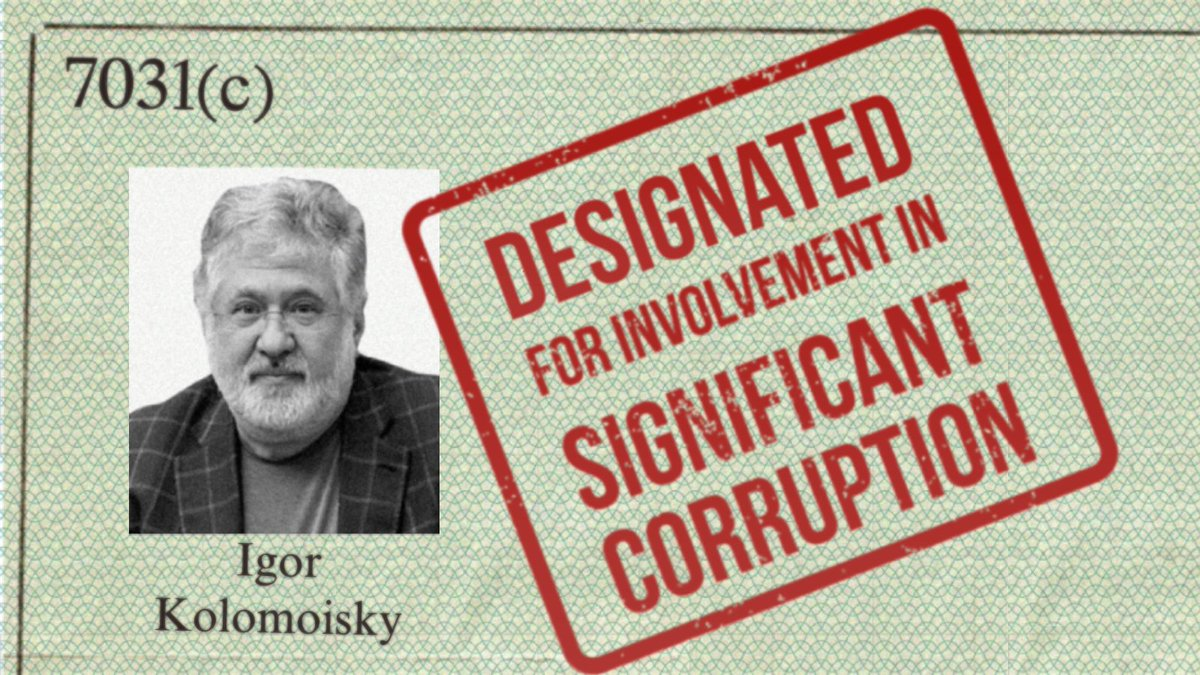 (1/3) Today, @SecBlinken announced the public designation of Ihor Kolomoyskyy and members of his immediate family under Section 7031(c) due to his involvement in significant corruption as Governor of Dnipropetrovsk Oblast from 2014 to 2015: https://t.co/mYDdRoa4Zz https://t.co/dvqishj5El