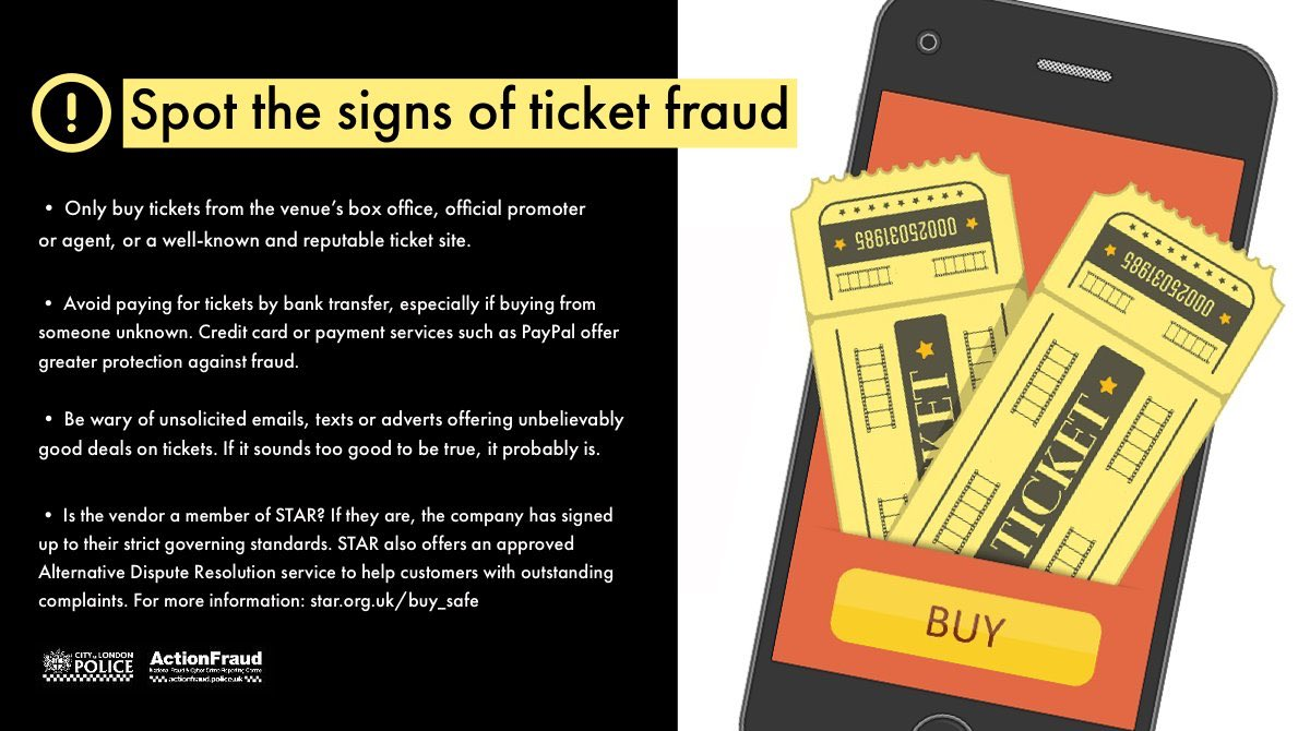 As venues prepare to re-open with social distancing measures in place following the #coronavirus outbreak, we are urging people to be wary of fraudsters selling fake or non-existent tickets to events. https://t.co/UZCTvS2JHt