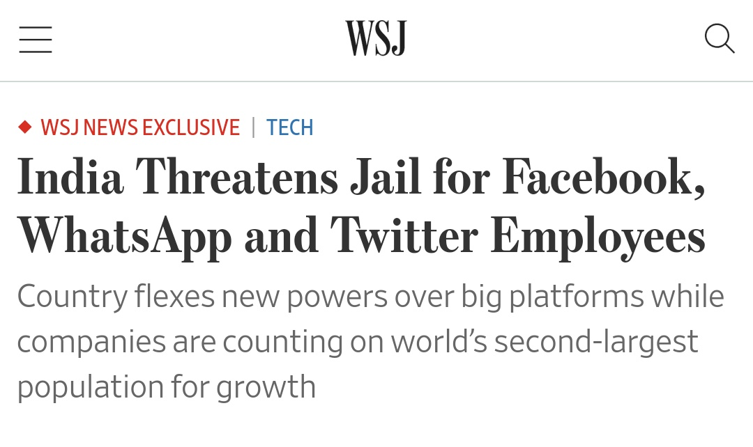 """""""The warnings are in direct response to the tech companies' reluctance to comply with data and takedown requests from the government related to protests by Indian farmers that have made international headlines.""""  @JeffHorwitz and @newley report."""