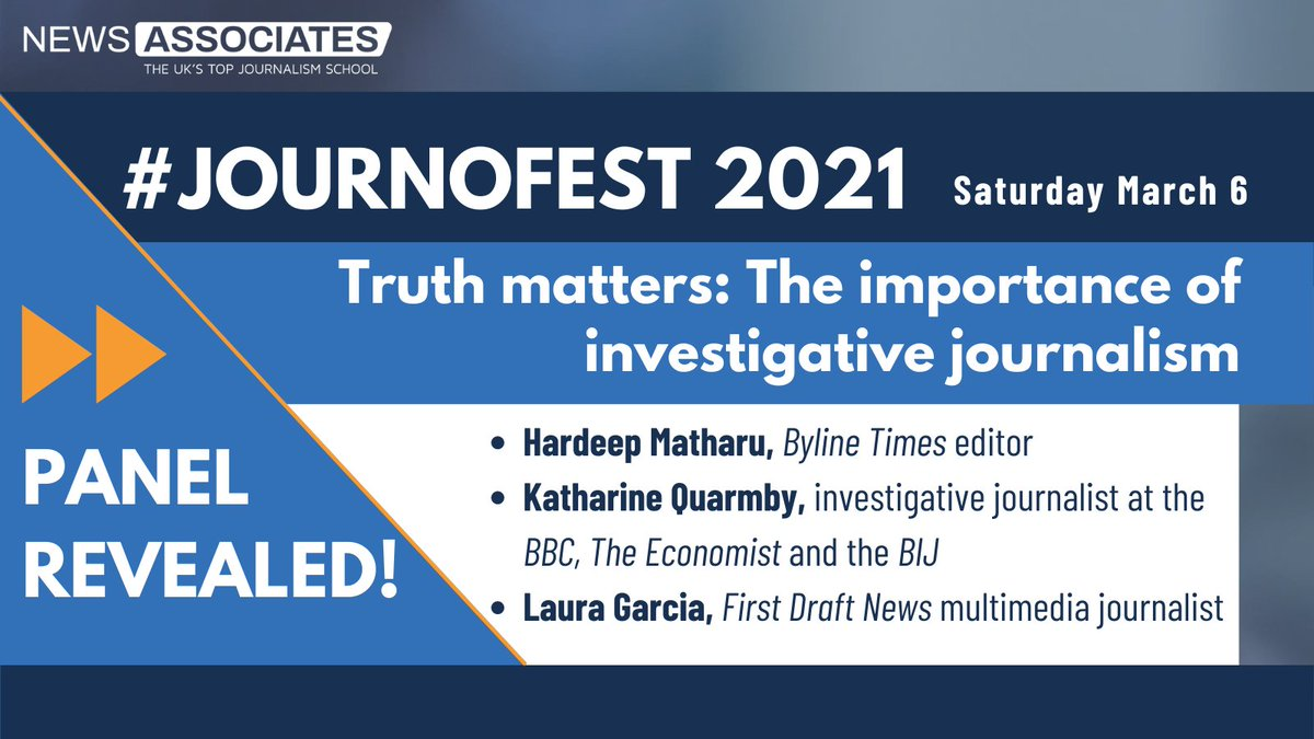 After a year when quality journalism has been more important than ever, our final panel at #JournoFest tomorrow will be exploring why truth matters ✅ Guest speakers @Hardeep_Matharu, @KatharineQ and @lauragrb will discuss the importance of investigative journalism 🔎
