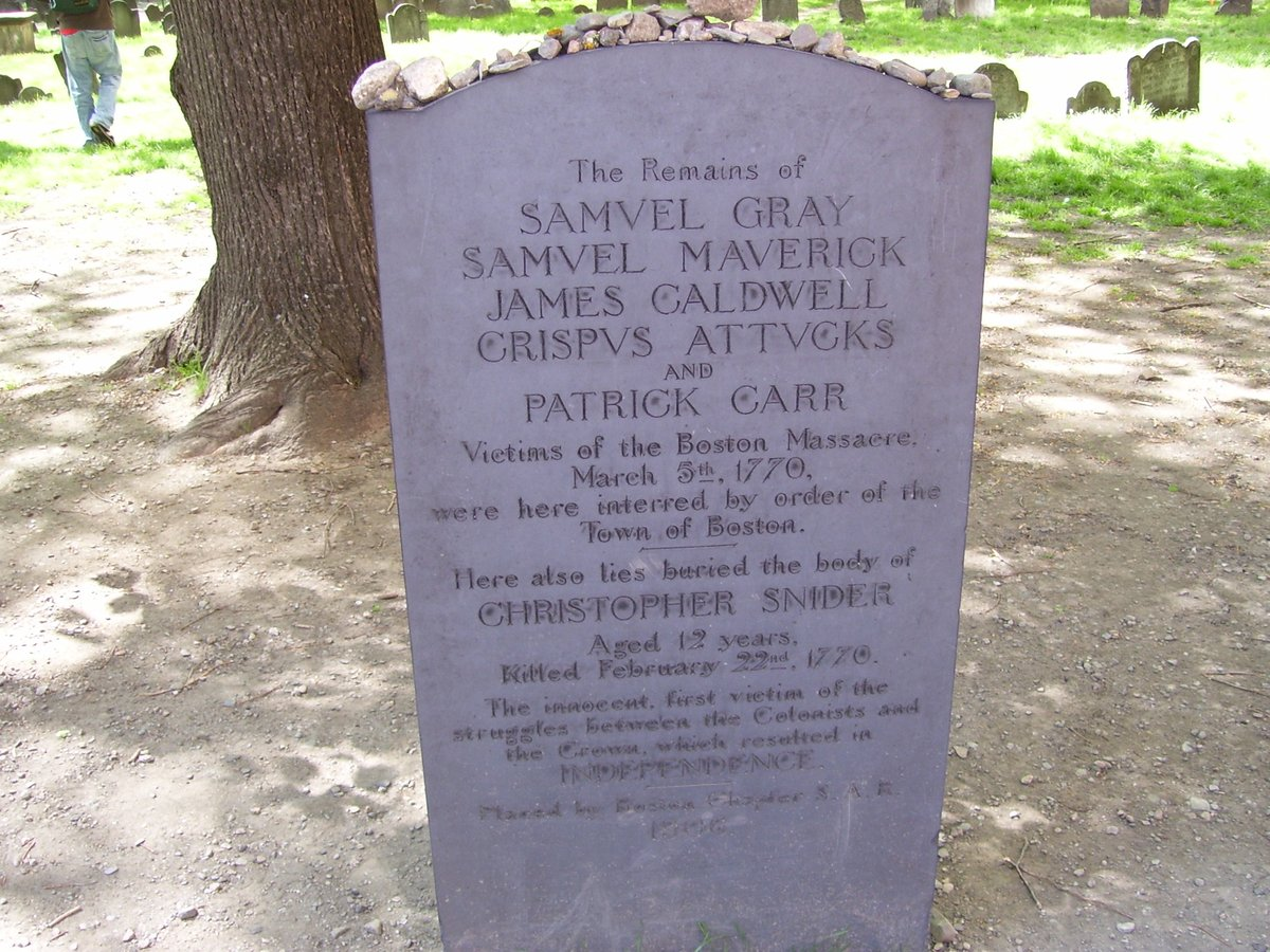 Replying to @BeschlossDC: Boston Massacre (occurred today 1770) victims' gravestone:
