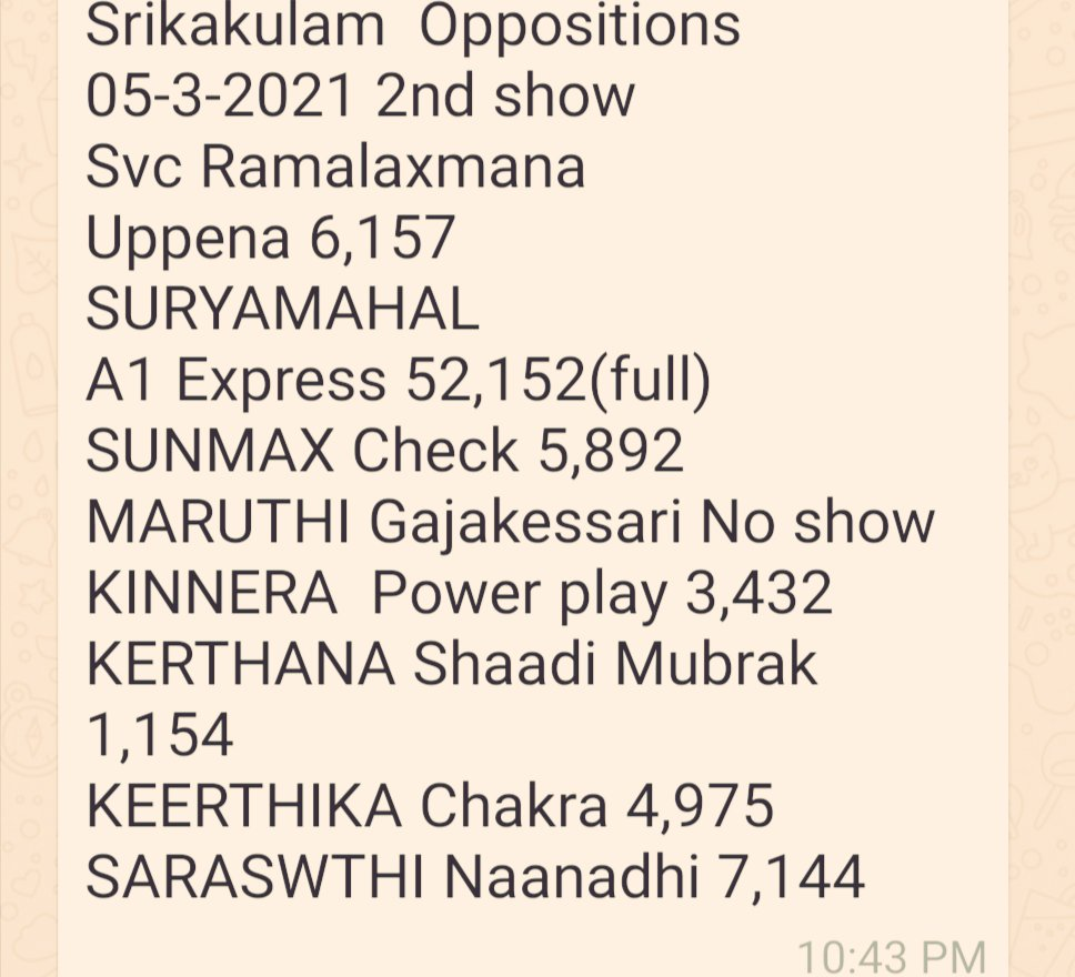 Day1.. Sklm 2nd show #A1Express full #PowerPlay #Naandhi  #Uppena