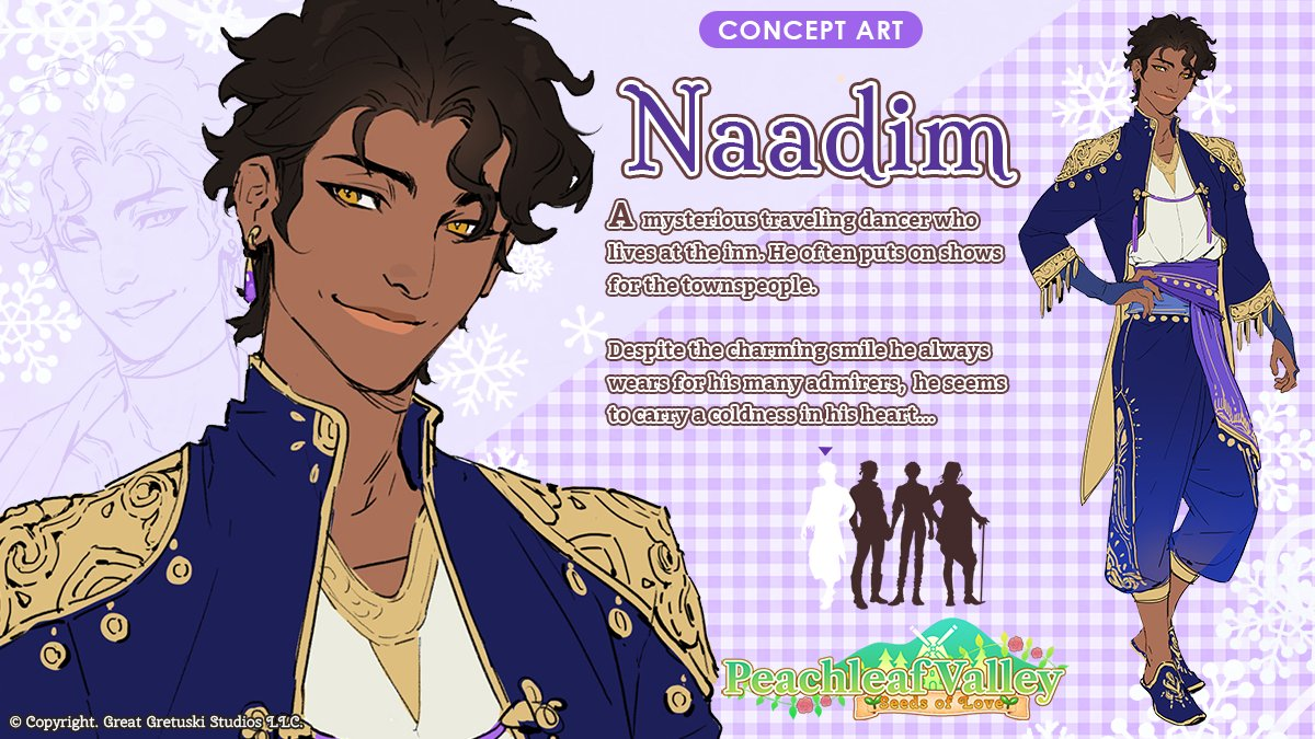 Our third concept reveal features a romanceable bachelor who hails from a faraway land... but his travels have brought him to #PeachleafValley, our farming-inspired otome game! Meet Naadim! The Bachelor of Winter!❄️💜 Concept Art by the amazing @arucelli ✨