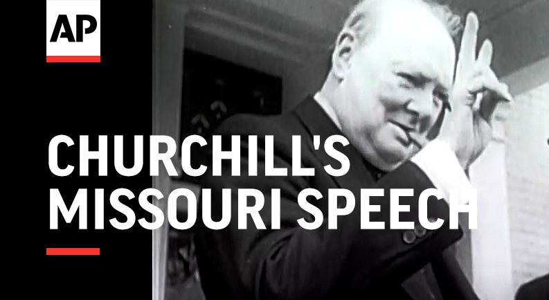 """#OTD in 1946, Sir Winston Churchill visited Westminster College and delivered """"Sinews of Peace,"""" a message heard around the world that went down in history as the """"Iron Curtain Speech."""""""