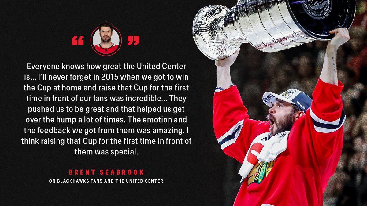 """""""They pushed us to be great""""  Brent Seabrook on the support of #Blackhawks fans."""