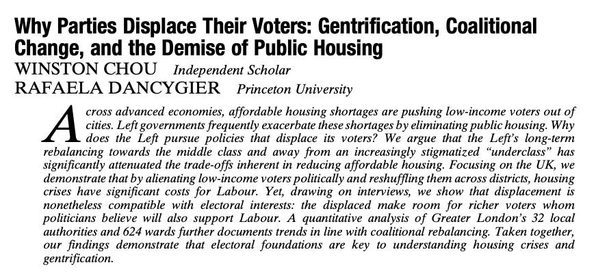 In #APSRFirstView, @RDancygier & Winston Chou find urban-left parties increasing reliance on the rich is directly linked to affordable housing crises & low-income voters moving out of cities in the UK. #APSR #polisciresearch ow.ly/lFdc50DLoDk