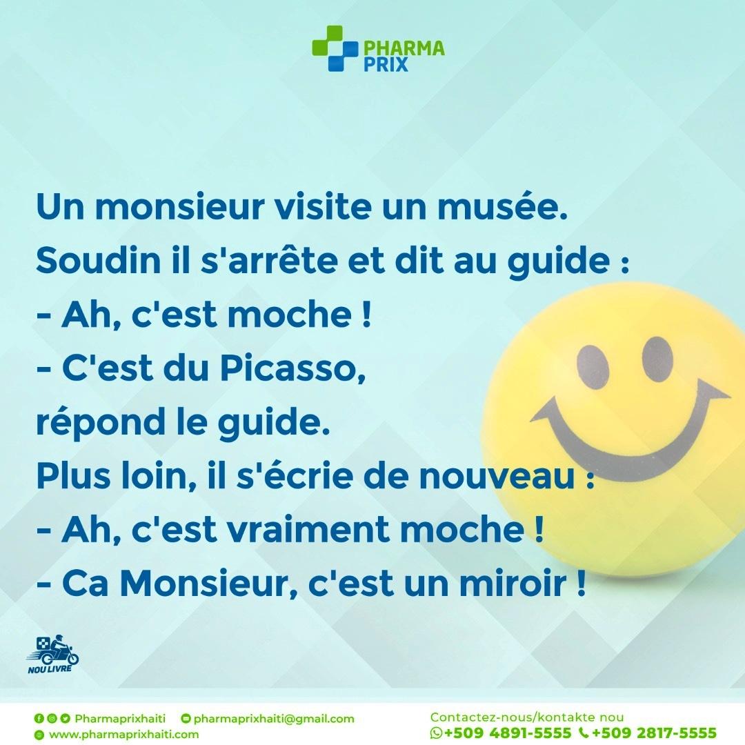 Bonjour #pharmacy #pharmaprixdelivery #humourdujour #humour #ayitifamasi #haitipharmacie #humour #rire #marrant #tropdrole #lol #frenchhumou #jpp #blagues #mourirderire #rigolo #fourire #instahumour #insolite #tweetdrole #fun #rigole #mortderire #rigolade #blague #blag