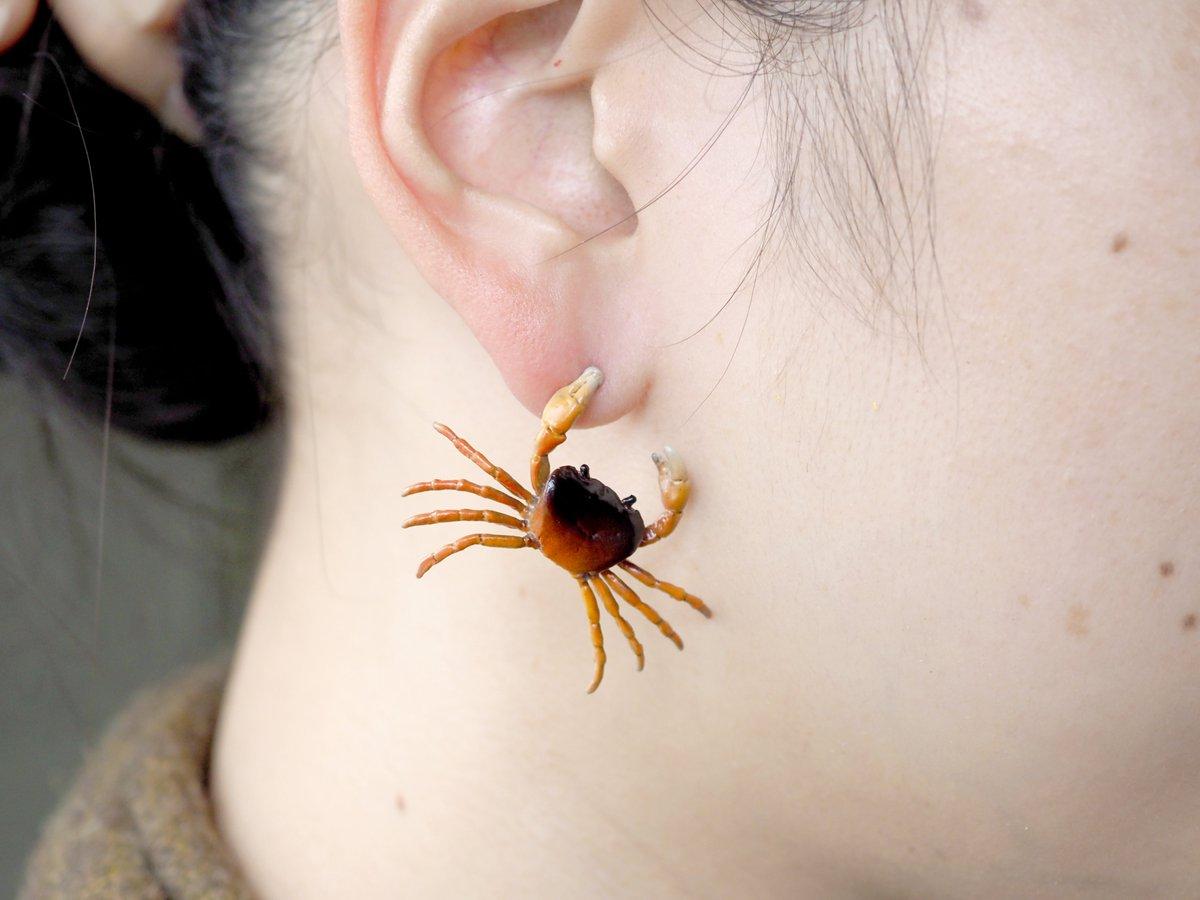 個性的なピアスすぎる!中々珍しい耳サワガニのピアス!